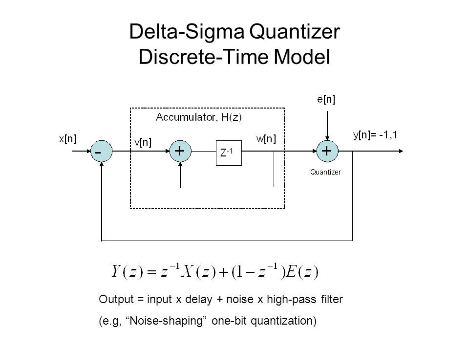 Delta-Sigma Quantizer Discrete-Time Model Output = input x delay + noise x high-pass filter (e.g, Noise-shaping one-bit quantization)