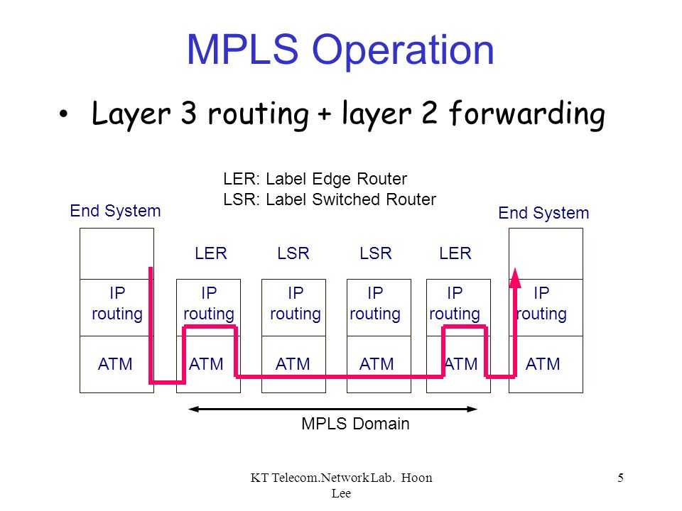 KT Telecom.Network Lab. Hoon Lee 5 LERLSR LER ATM IP routing IP routing IP routing IP routing IP routing IP routing End System MPLS Operation Layer 3