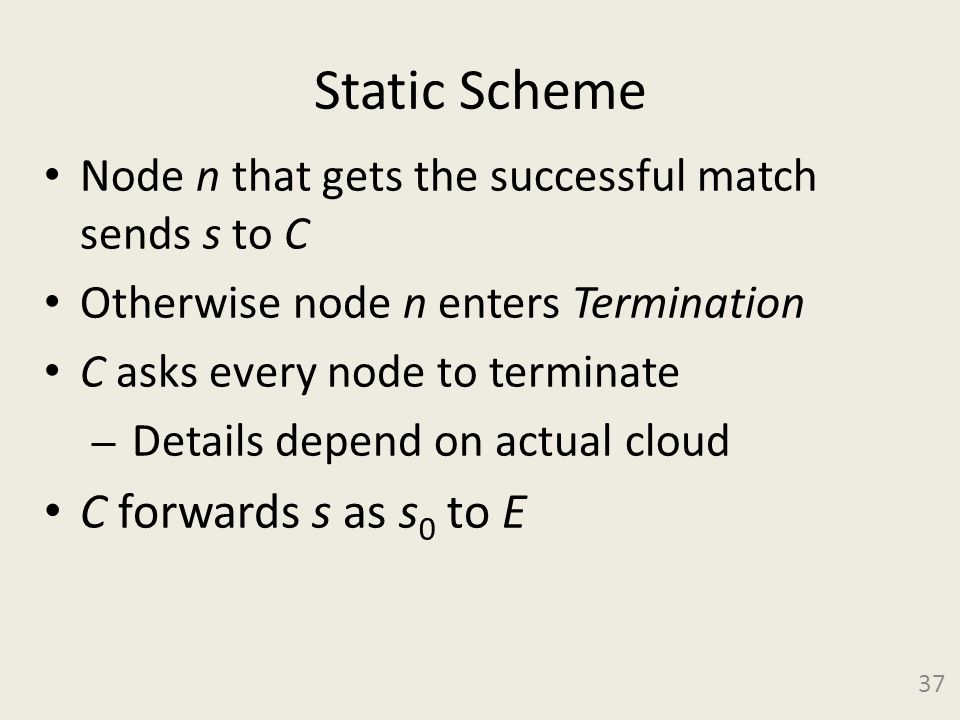 Static Scheme Node n that gets the successful match sends s to C Otherwise node n enters Termination C asks every node to terminate – Details depend on actual cloud C forwards s as s 0 to E 37