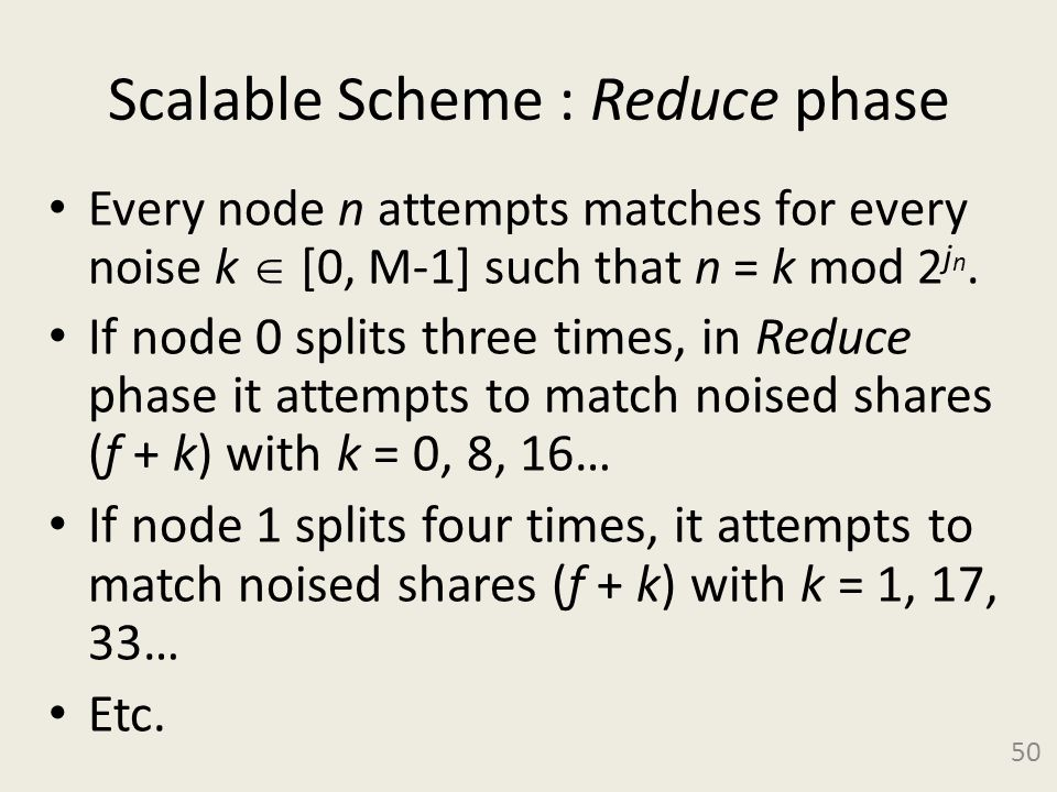 Scalable Scheme : Reduce phase Every node n attempts matches for every noise k [0, M-1] such that n = k mod 2 j n.