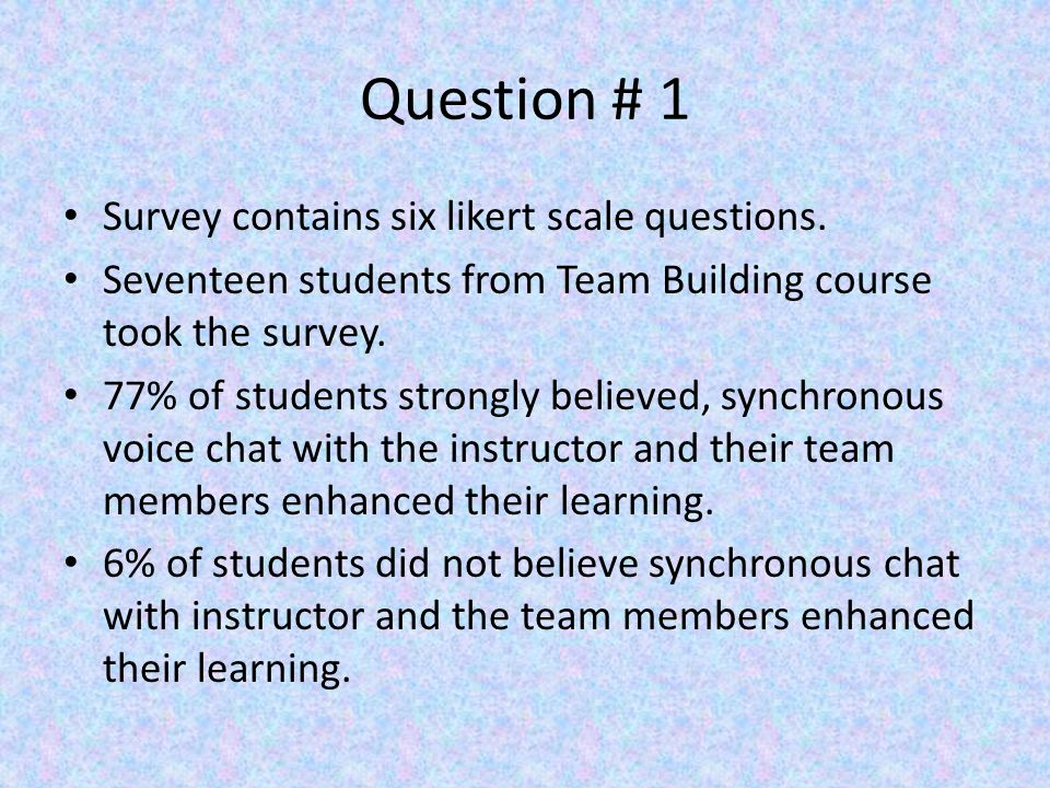 Question # 1 Survey contains six likert scale questions.