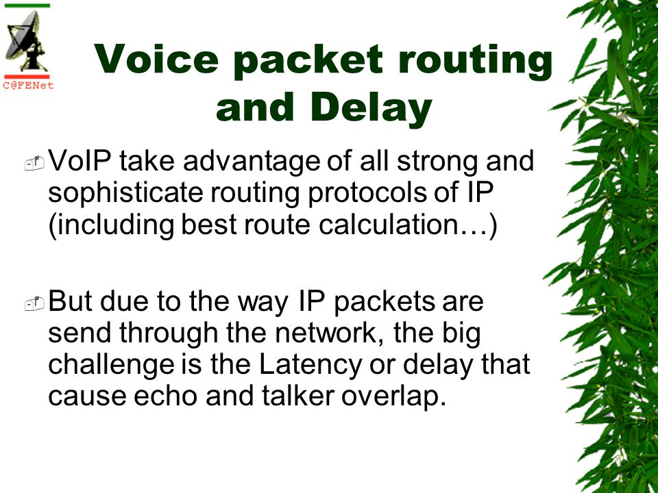 Voice packet routing and Delay VoIP take advantage of all strong and sophisticate routing protocols of IP (including best route calculation…) But due to the way IP packets are send through the network, the big challenge is the Latency or delay that cause echo and talker overlap.