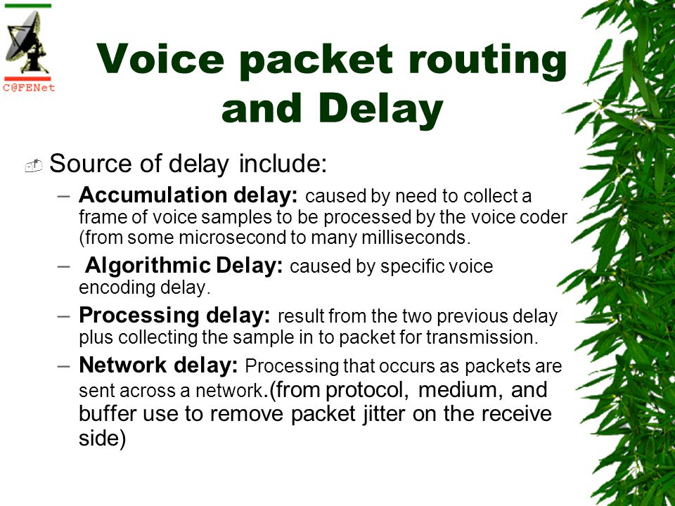 Voice packet routing and Delay Source of delay include: –Accumulation delay: caused by need to collect a frame of voice samples to be processed by the voice coder (from some microsecond to many milliseconds.