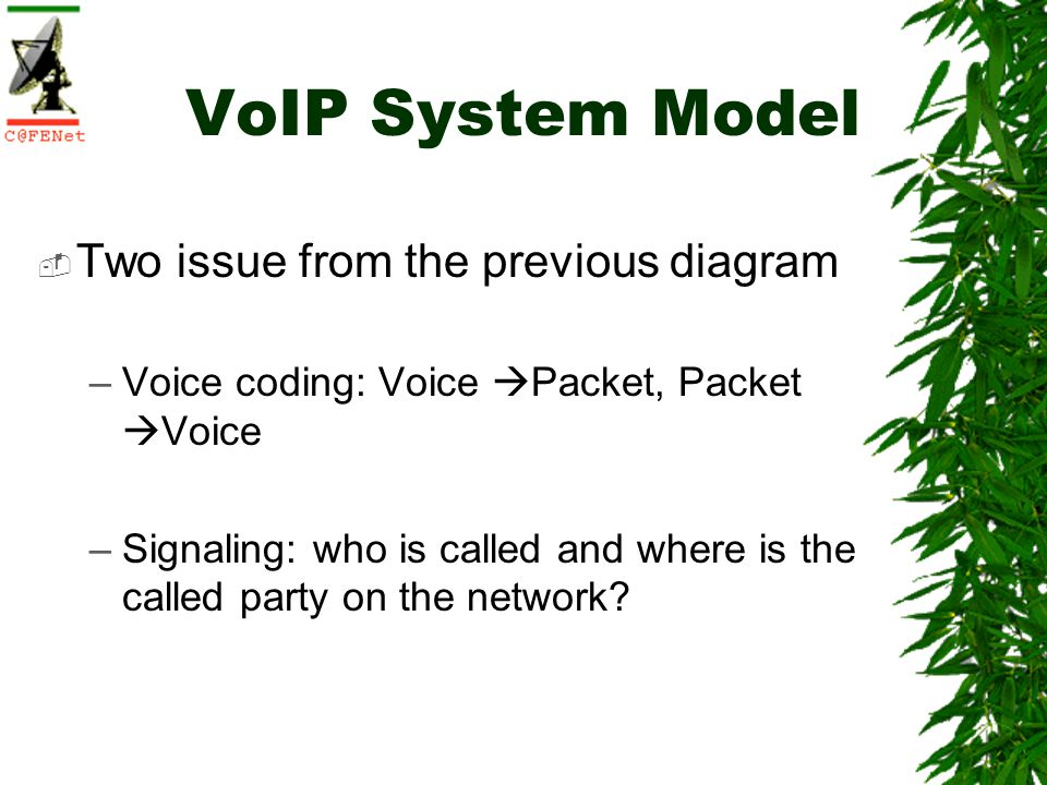 VoIP System Model Two issue from the previous diagram –Voice coding: Voice Packet, Packet Voice –Signaling: who is called and where is the called part