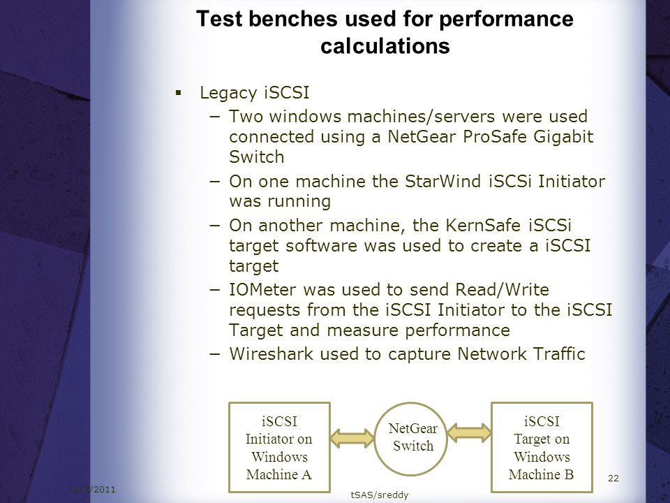 11/3/2011 tSAS/sreddy 22 Test benches used for performance calculations Legacy iSCSI Two windows machines/servers were used connected using a NetGear