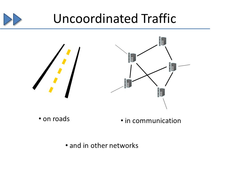 Uncoordinated Traffic on roads in communication and in other networks