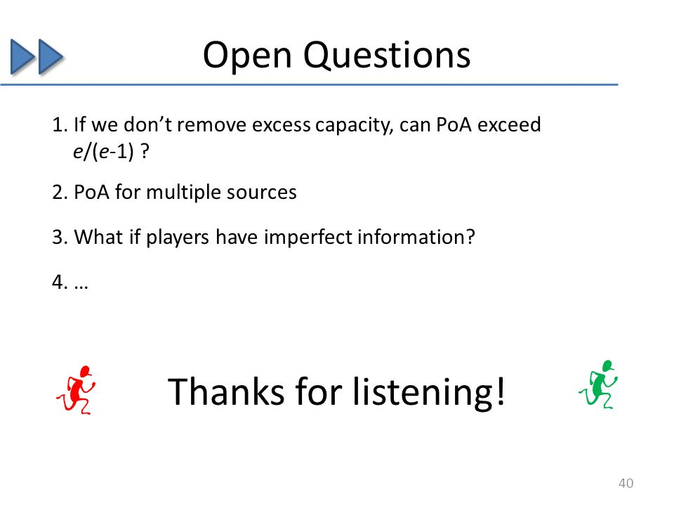 Open Questions 1. If we dont remove excess capacity, can PoA exceed e/(e-1) ? 3. What if players have imperfect information? 4. … 2. PoA for multiple