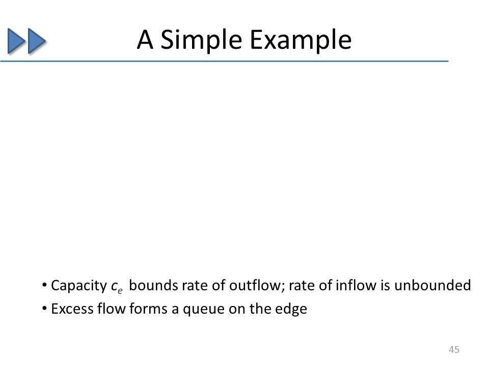 Capacity c e bounds rate of outflow; rate of inflow is unbounded Excess flow forms a queue on the edge A Simple Example 45