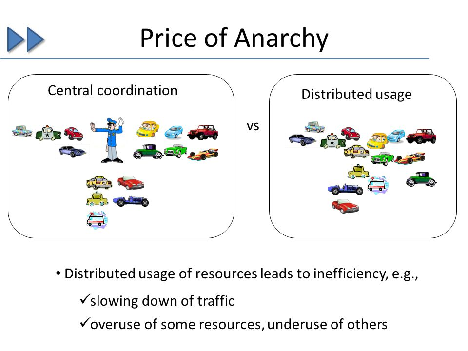 Price of Anarchy vs Distributed usage of resources leads to inefficiency, e.g., Central coordination Distributed usage slowing down of traffic overuse
