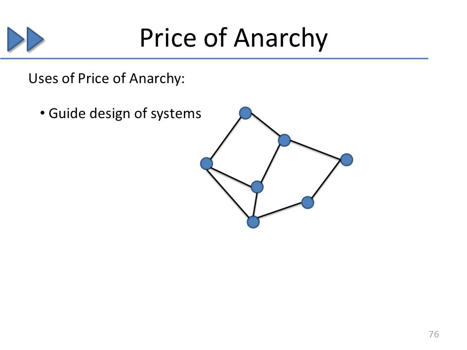 Price of Anarchy Guide design of systems Uses of Price of Anarchy: 76