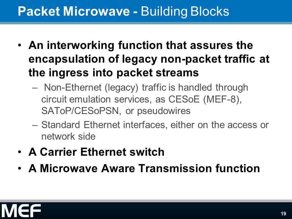 19 Packet Microwave - Building Blocks An interworking function that assures the encapsulation of legacy non-packet traffic at the ingress into packet