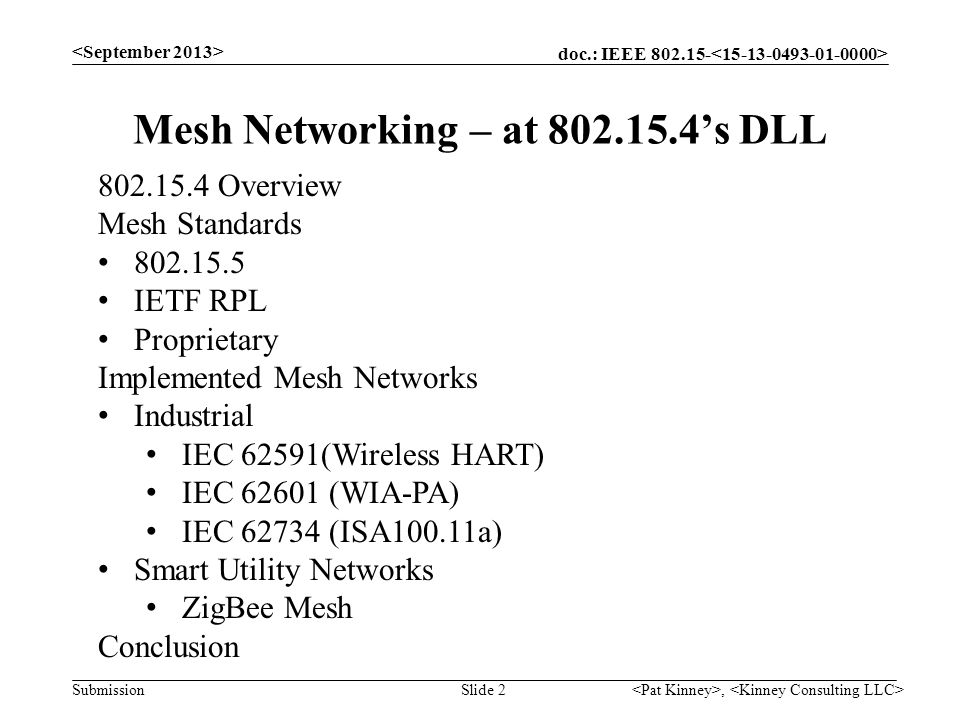 doc.: IEEE 802.15- Submission, Slide 2 Mesh Networking – at 802.15.4s DLL 802.15.4 Overview Mesh Standards 802.15.5 IETF RPL Proprietary Implemented M