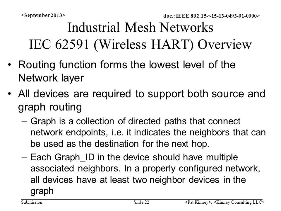 doc.: IEEE 802.15- Submission Industrial Mesh Networks IEC 62591 (Wireless HART) Overview Routing function forms the lowest level of the Network layer