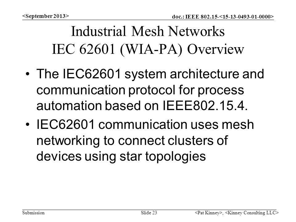 doc.: IEEE 802.15- Submission Industrial Mesh Networks IEC 62601 (WIA-PA) Overview The IEC62601 system architecture and communication protocol for pro