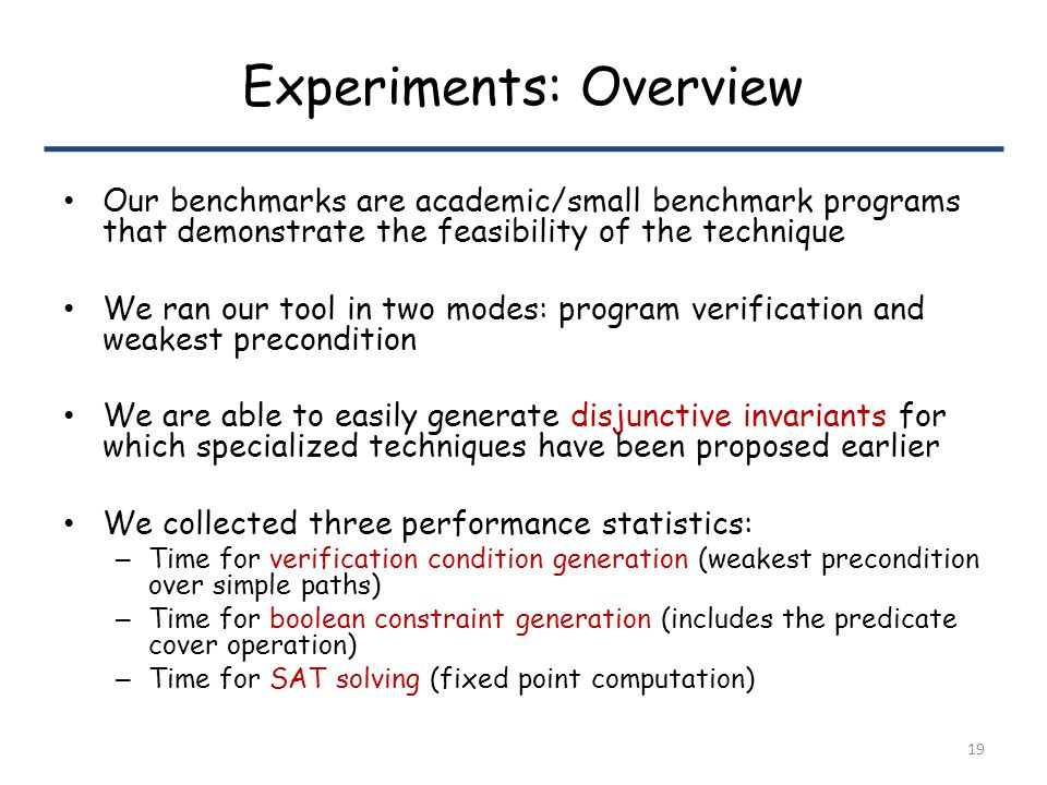 Experiments: Overview Our benchmarks are academic/small benchmark programs that demonstrate the feasibility of the technique We ran our tool in two modes: program verification and weakest precondition We are able to easily generate disjunctive invariants for which specialized techniques have been proposed earlier We collected three performance statistics: – Time for verification condition generation (weakest precondition over simple paths) – Time for boolean constraint generation (includes the predicate cover operation) – Time for SAT solving (fixed point computation) 19