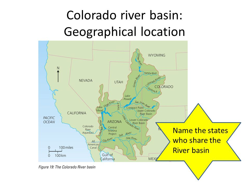 Colorado river basin: Geographical location Name the states who share the River basin