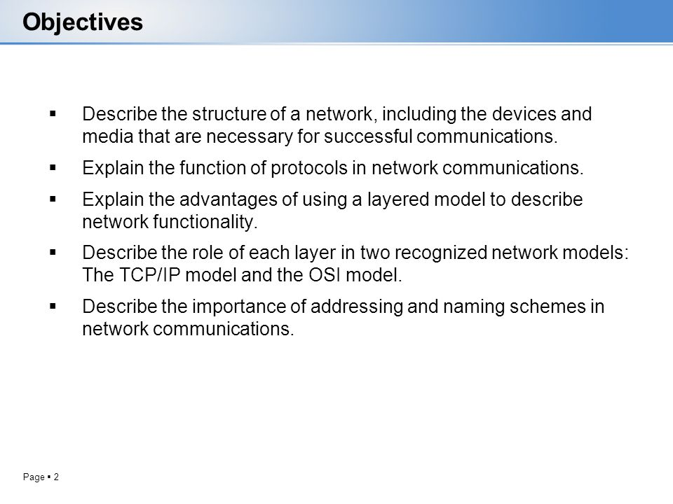 Page 2 Objectives Describe the structure of a network, including the devices and media that are necessary for successful communications. Explain the f