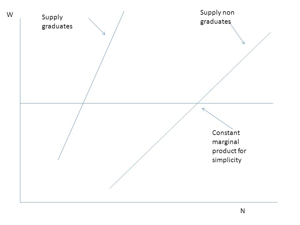 Constant marginal product for simplicity N Supply non graduates Supply graduates W