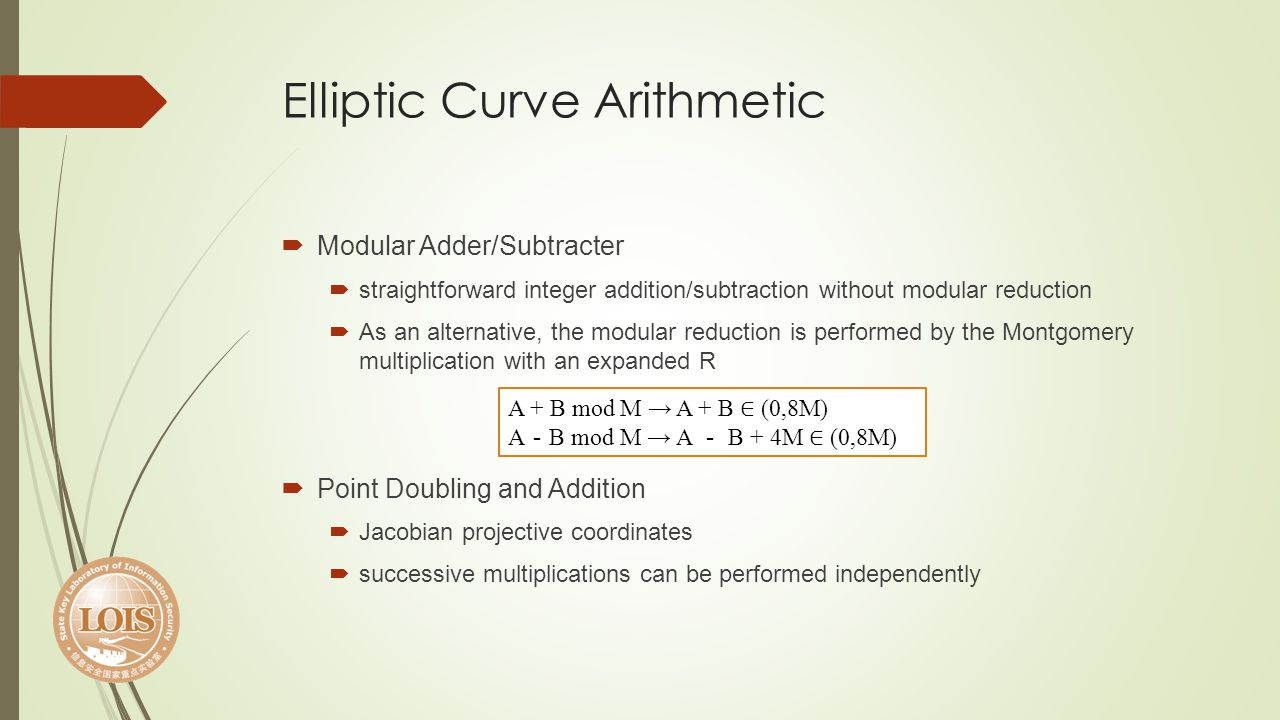 Elliptic Curve Arithmetic Modular Adder/Subtracter straightforward integer addition/subtraction without modular reduction As an alternative, the modul