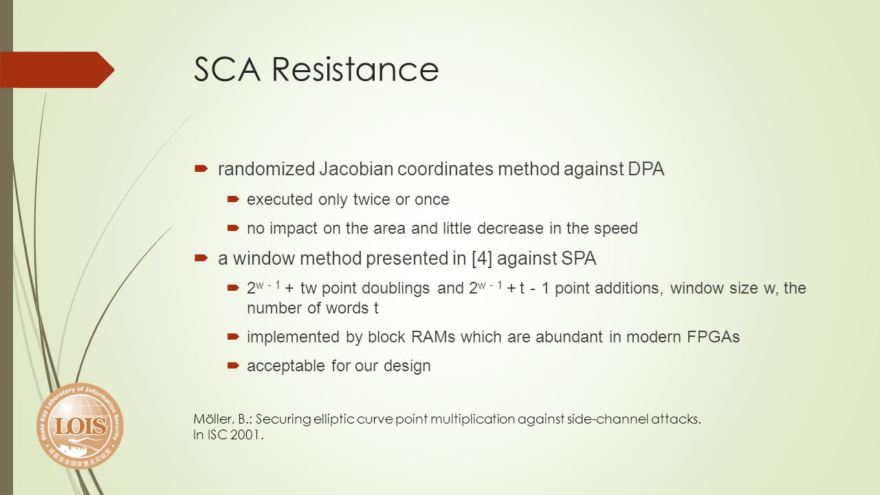 SCA Resistance randomized Jacobian coordinates method against DPA executed only twice or once no impact on the area and little decrease in the speed a