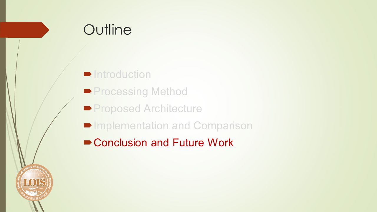 Outline Introduction Processing Method Proposed Architecture Implementation and Comparison Conclusion and Future Work