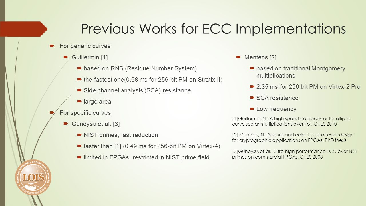 Previous Works for ECC Implementations For generic curves Guillermin [1] based on RNS (Residue Number System) the fastest one(0.68 ms for 256-bit PM o