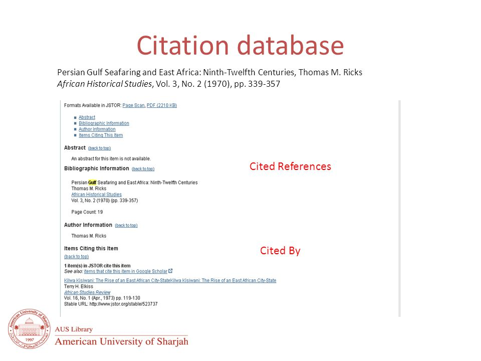 Common uses of citation data History of an idea – Discover how a known idea or innovation has been confirmed, applied, improved, extended, or corrected Impact of an individual – Use citation analysis to find influential authors who are publishing high-impact research in your field, discover important author and/or institutional research collaborations Impact of a journal – Determine where the most impactful research is being published