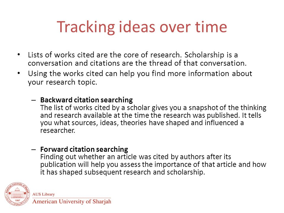 Tracking ideas over time Lists of works cited are the core of research.