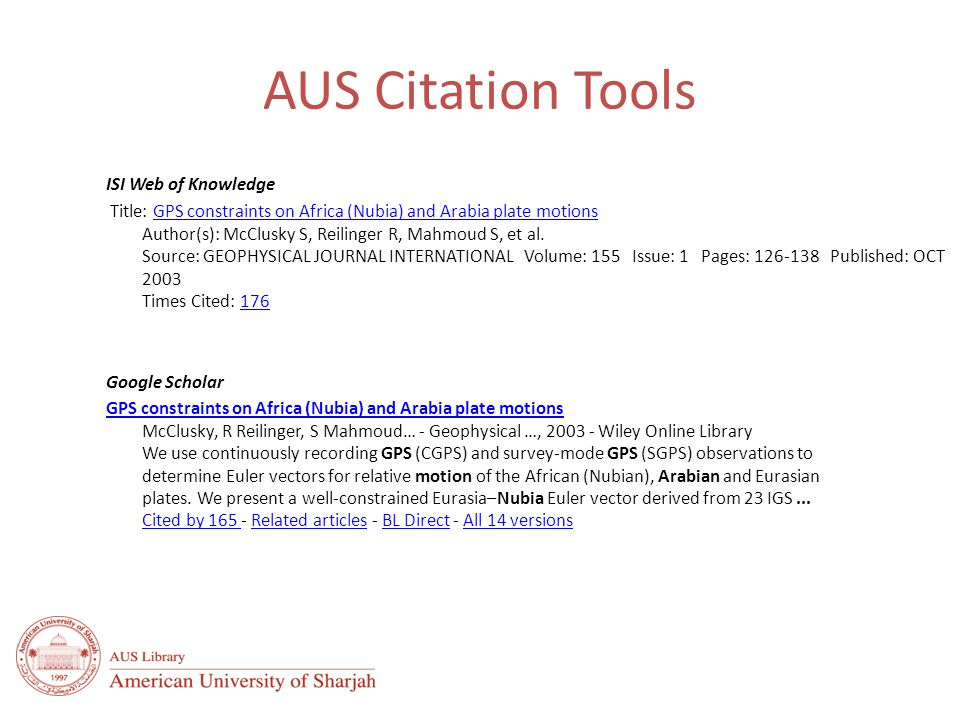 AUS Citation Tools ISI Web of Knowledge Title: GPS constraints on Africa (Nubia) and Arabia plate motions Author(s): McClusky S, Reilinger R, Mahmoud S, et al.