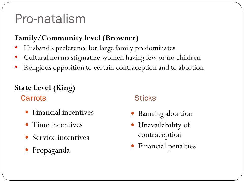 Pro-natalism CarrotsSticks Financial incentives Time incentives Service incentives Propaganda Banning abortion Unavailability of contraception Financi