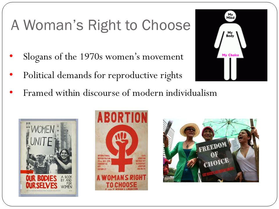 A Womans Right to Choose Slogans of the 1970s womens movement Political demands for reproductive rights Framed within discourse of modern individualis