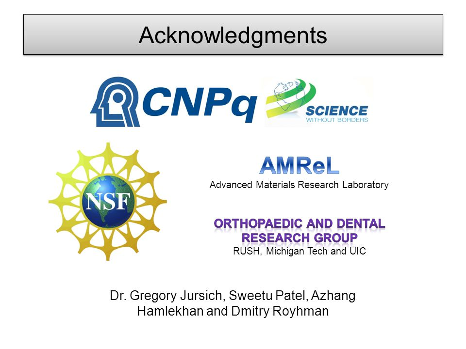 Acknowledgments Dr. Gregory Jursich, Sweetu Patel, Azhang Hamlekhan and Dmitry Royhman