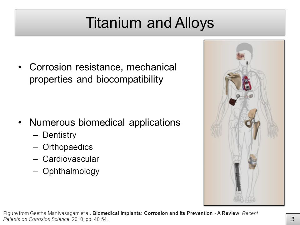 Titanium and Alloys Corrosion resistance, mechanical properties and biocompatibility Numerous biomedical applications –Dentistry –Orthopaedics –Cardiovascular –Ophthalmology 2 2 Figure from Geetha Manivasagam et al.