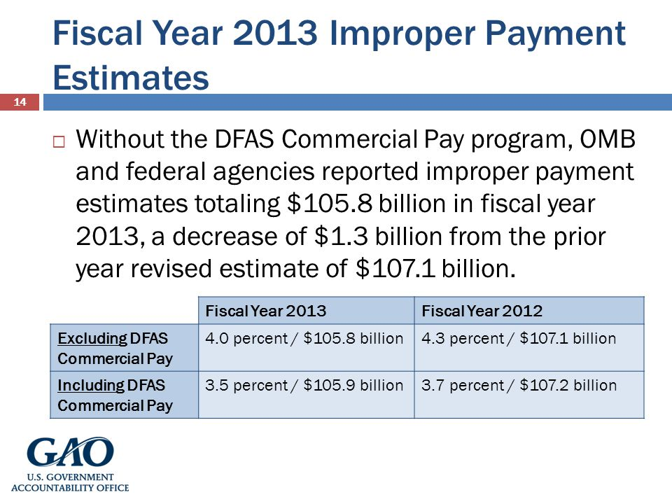 Fiscal Year 2013 Improper Payment Estimates 14 Without the DFAS Commercial Pay program, OMB and federal agencies reported improper payment estimates totaling $105.8 billion in fiscal year 2013, a decrease of $1.3 billion from the prior year revised estimate of $107.1 billion.