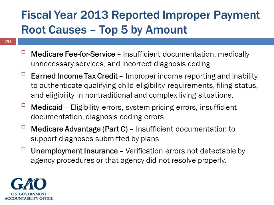 Fiscal Year 2013 Reported Improper Payment Root Causes – Top 5 by Amount 20 Medicare Fee-for-Service – Insufficient documentation, medically unnecessa