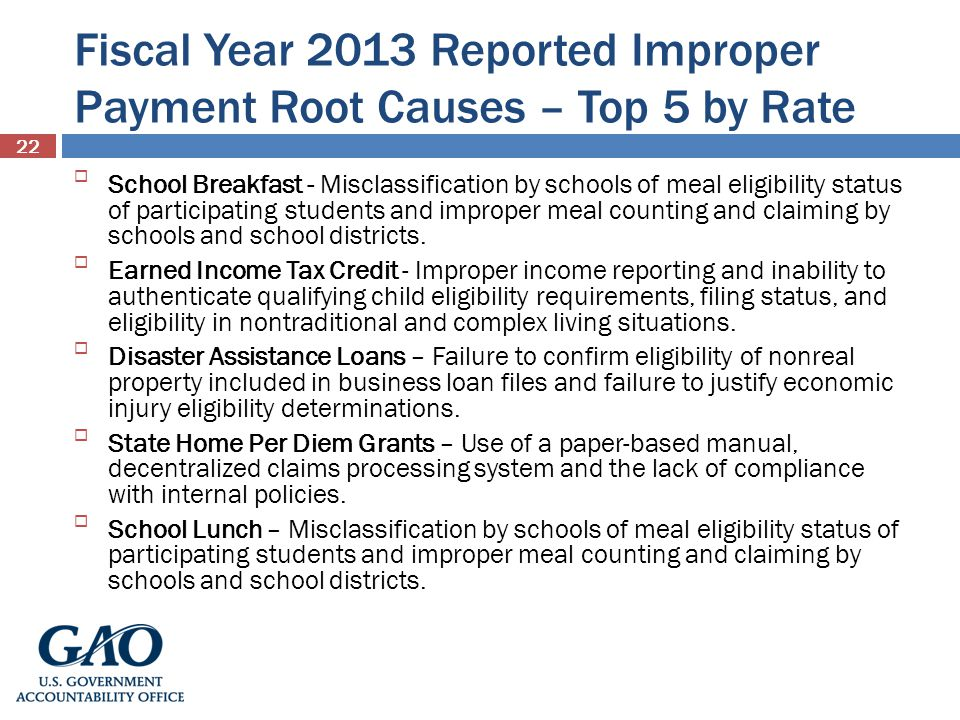 Fiscal Year 2013 Reported Improper Payment Root Causes – Top 5 by Rate School Breakfast - Misclassification by schools of meal eligibility status of participating students and improper meal counting and claiming by schools and school districts.