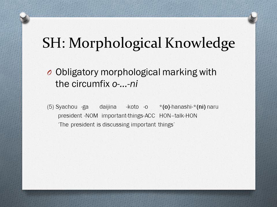 SH: Morphological Knowledge O Obligatory morphological marking with the circumfix o-…-ni (5) Syachou -ga daijina -koto -o *(o)-hanashi-*(ni) naru president -NOM important-things-ACC HON–talk-HON The president is discussing important things