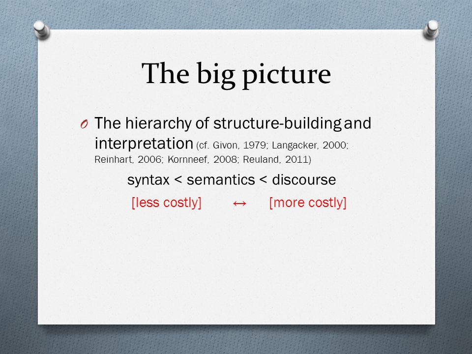 The big picture O The hierarchy of structure-building and interpretation (cf.