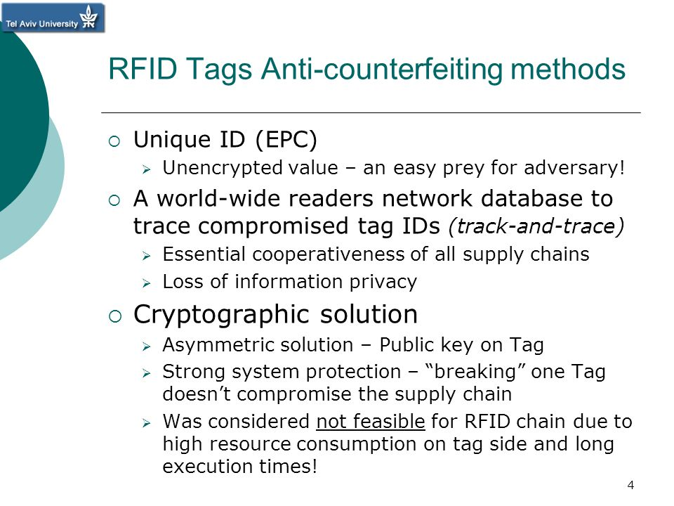 RFID Tags Anti-counterfeiting methods Unique ID (EPC) Unencrypted value – an easy prey for adversary! A world-wide readers network database to trace c
