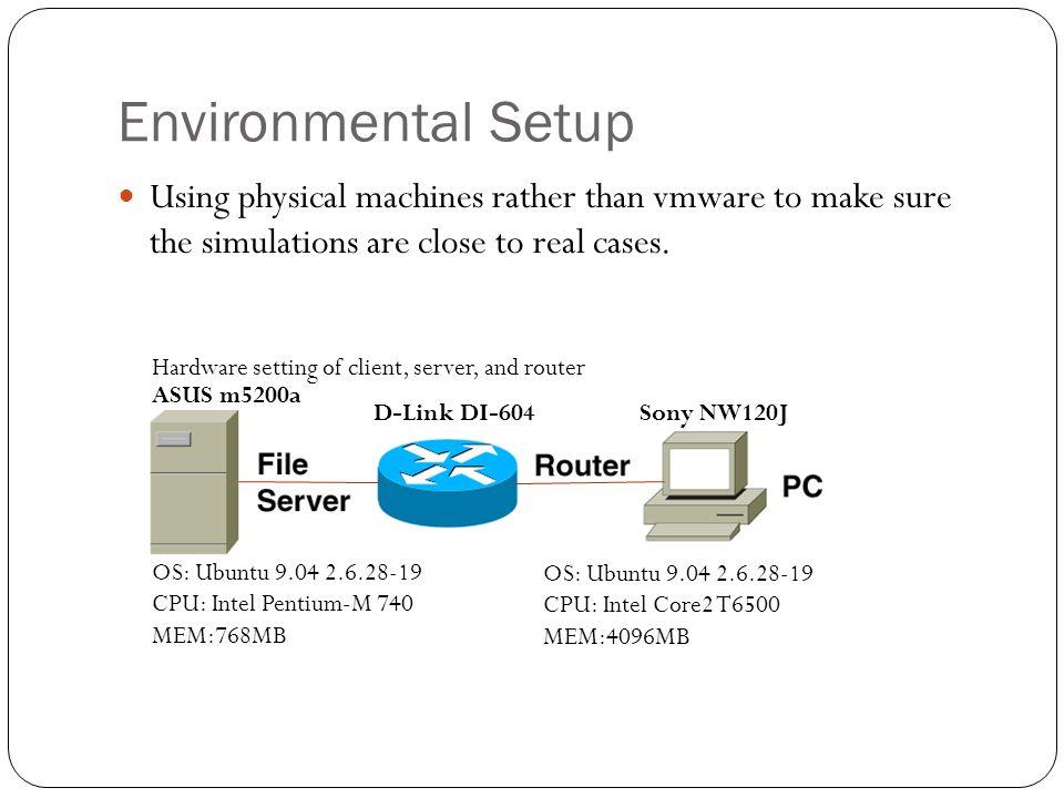 Environmental Setup Hardware setting of client, server, and router OS: Ubuntu 9.04 2.6.28-19 CPU: Intel Pentium-M 740 MEM:768MB OS: Ubuntu 9.04 2.6.28