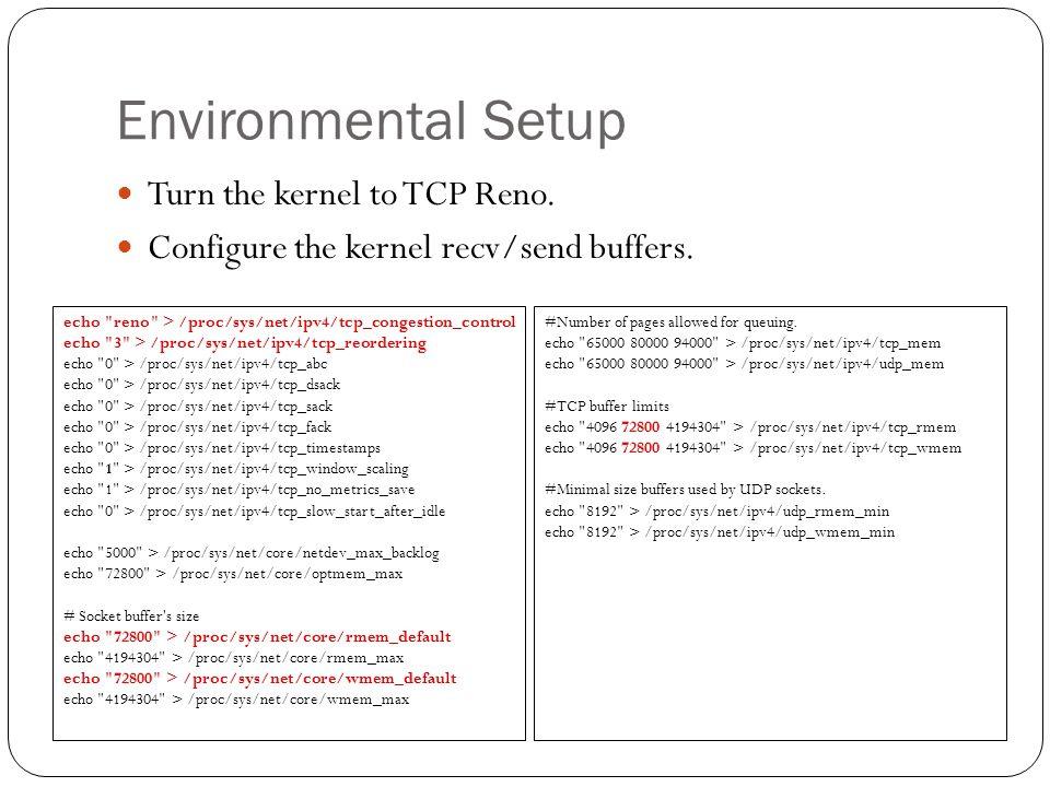 Environmental Setup Turn the kernel to TCP Reno. Configure the kernel recv/send buffers.