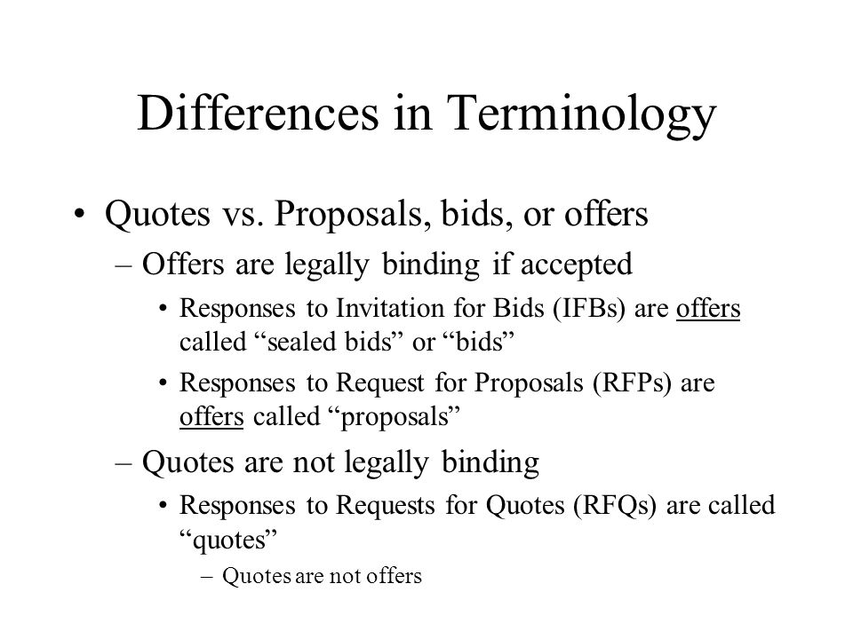 Differences in Terminology Quotes vs.