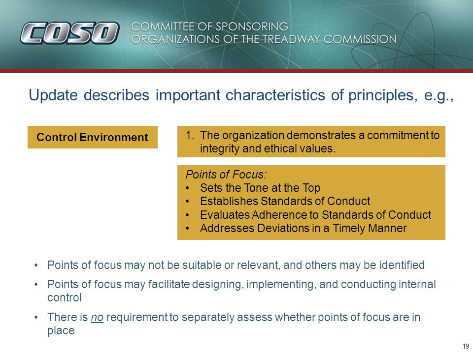 19 Update describes important characteristics of principles, e.g., Points of focus may not be suitable or relevant, and others may be identified Point