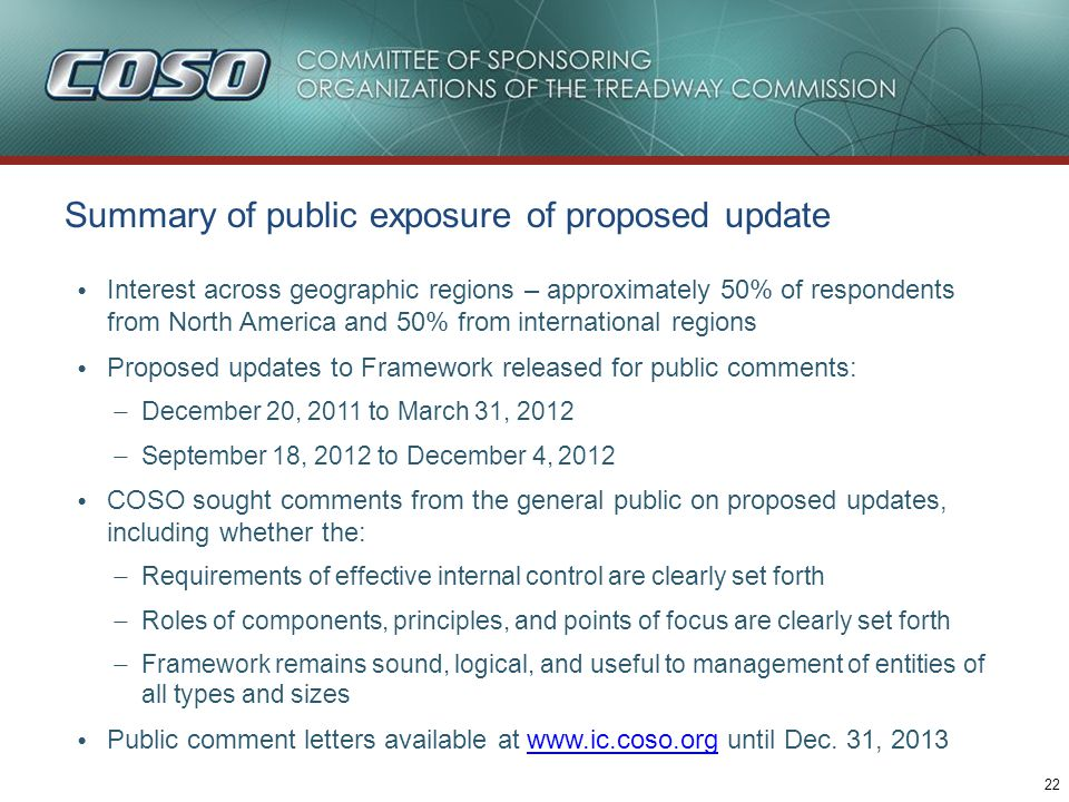 22 Summary of public exposure of proposed update Interest across geographic regions – approximately 50% of respondents from North America and 50% from