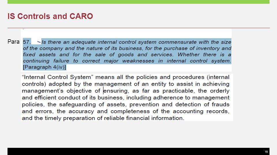 15 IS Controls and CARO Para 34 of SA 400