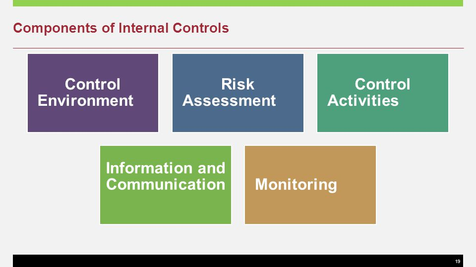 19 Components of Internal Controls Control Environment Risk Assessment Control Activities Information and CommunicationMonitoring