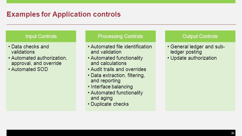 26 Examples for Application controls Input Controls Data checks and validations Automated authorization, approval, and override Automated SOD Processi