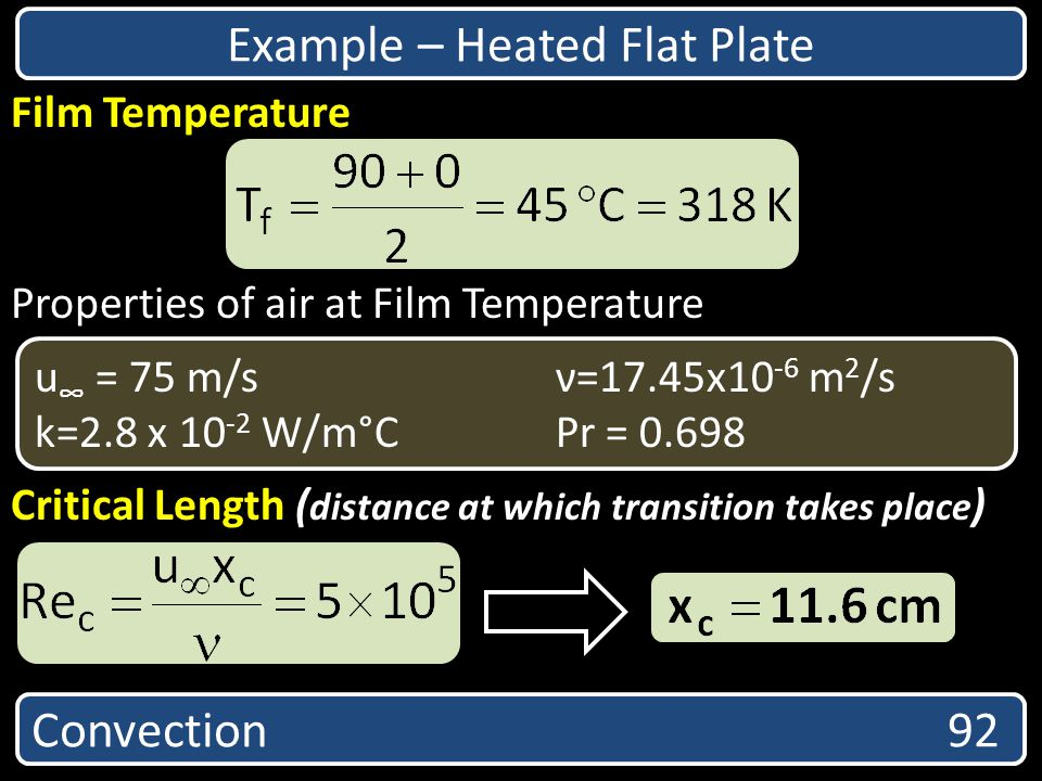 Properties of air at Film Temperature Critical Length ( distance at which transition takes place ) Convection 92 Film Temperature u = 75 m/sν=17.45x10
