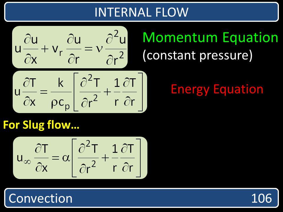 Convection 106 INTERNAL FLOW Momentum Equation (constant pressure) Energy Equation For Slug flow…