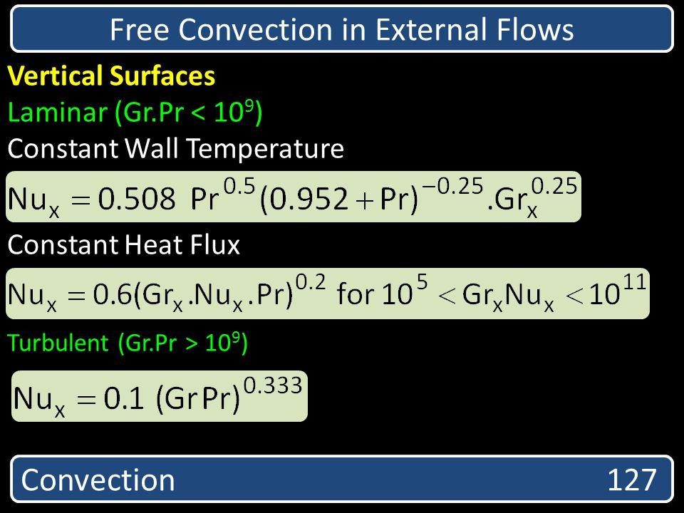 Free Convection in External Flows Vertical Surfaces Laminar (Gr.Pr < 10 9 ) Constant Wall Temperature Constant Heat Flux Turbulent (Gr.Pr > 10 9 ) Con